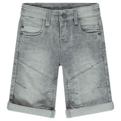 Used denim-effect fleece bermuda shorts with rips