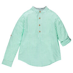 Junior - Long-sleeved shirt with vertical stripes and mao collar