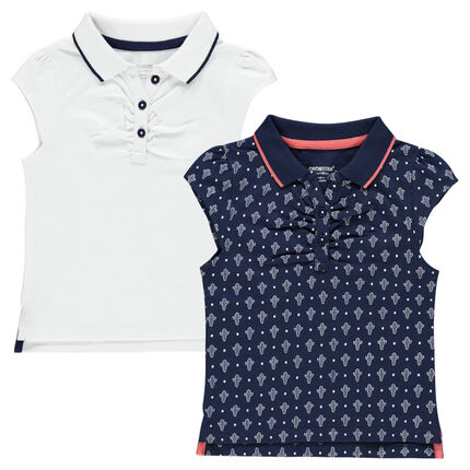 Set of 2 short-sleeved plain-colored/printed polo shirts