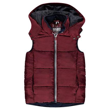 Junior - Sleeveless down jacket with hood and microfleece lining