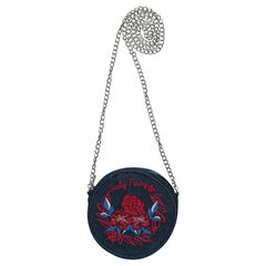 Denim-effect handbag with floral embroidery