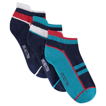 Set of 3 pairs of ankle socks with sportswear-style jacquard motif