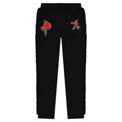Junior - Jegging Milano with ruffles and embroidered roses