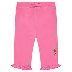 Jersey capri pants with embroidered flowers