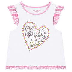 Jersey tank top with frilled sleeves and a printed heart