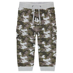 Fleece sweatpants with an allover army motif