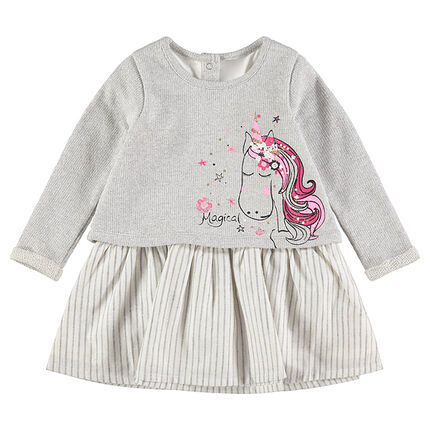 Long-sleeved 2-in-1 effect knit dress with a unicorn print