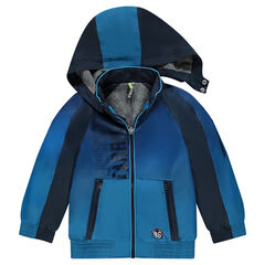 Windbreaker with removable hood and zipped pockets