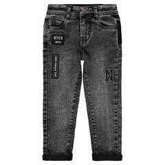 Snow wash-effect jeans with badge patches