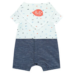 2-in-1 effect romper with a removable bib in jersey