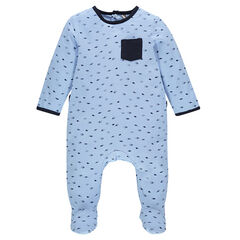Jersey footed sleeper with allover print and patch pocket