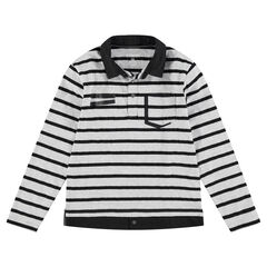 Junior - Long-sleeved jersey polo shirt with a layered effect and pocket