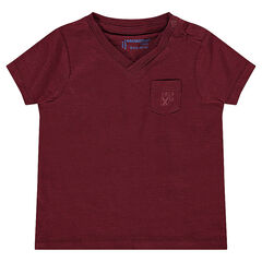 Short-sleeved, slub tee-shirt with printed pocket