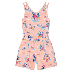Junior - Crepe romper with an allover tropical motif and bare back