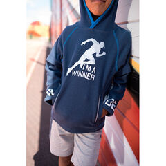 Hooded fleece sweatshirt with a sports-style print and zipped pockets