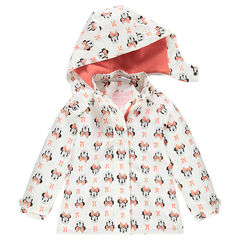 Waterproof windbreaker with removable hood and Disney Minnie Mouse print
