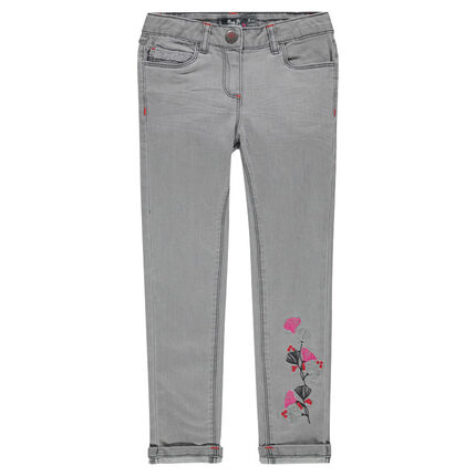 Gray, slim-cut embroidered jeans