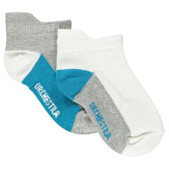 Set of 2 pairs of plain-colored no-show socks