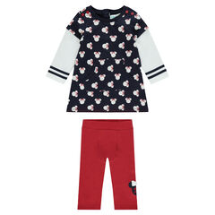 Disney Minnie Mouse ensemble with 2-in-1 effect fleece dress and leggings