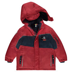 Waterproof two-tone ski jacket lined with microfleece