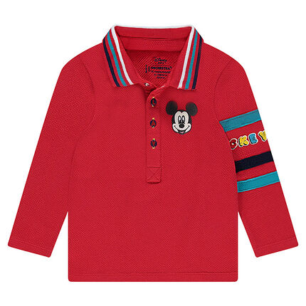 Long-sleeved cotton polo shirt with a ©Disney Mickey Mouse print
