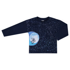 Long-sleeved box fit tee-shirt with a galaxy print
