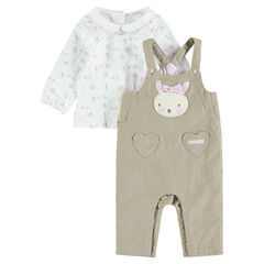 Rabbit print tee-shirt and corduroy overalls ensemble