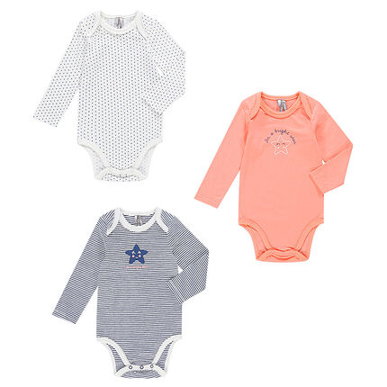 Set of 3 trendy long-sleeved bodysuits with opening adapted according to the age
