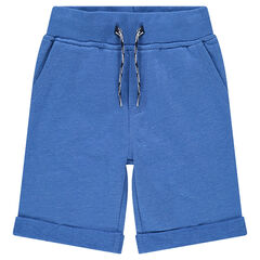 Junior - Plain-colored fleece bermuda shorts with pockets