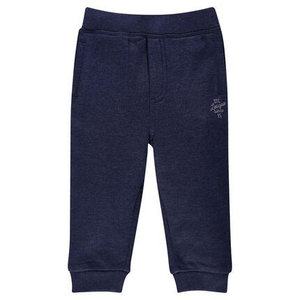 Plain-colored brushed fleece jogging pants