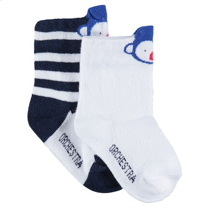 Set of 2 pairs of assorted socks with a jacquard monkey