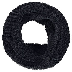 Chenille knit snood with a sherpa lining