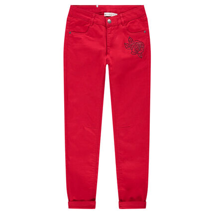 Junior - Plain-colored slim-fit red pants with rhinestone flower