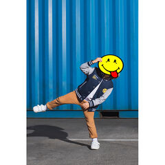 Two-tone fleece letterman jacket with ©Smiley badge patches