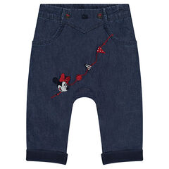 Chambray pants with Disney Minnie embroidery