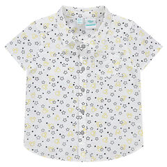 Short-sleeved shirt with stars printed all over