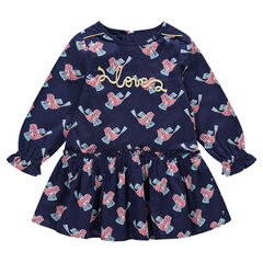 Long-sleeved cotton satin dress with allover birds