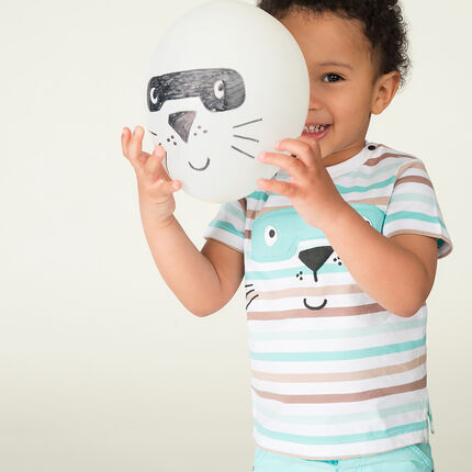 Short-sleeved striped jersey tee-shirt with masked animal print