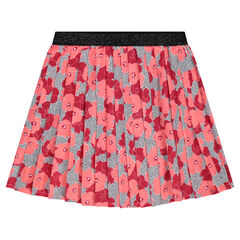 Pleated skirt in crepe with flower print