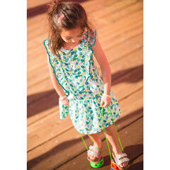 Dress with an allover leaf print and filled sleeves