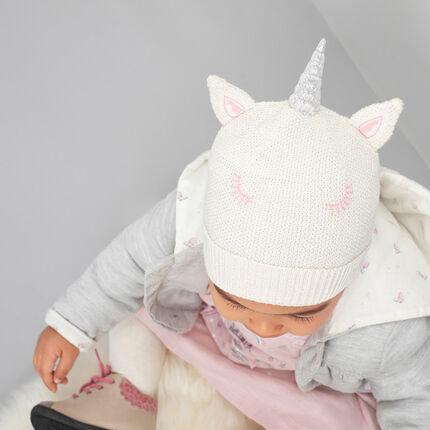 Jersey-lined knit unicorn beanie