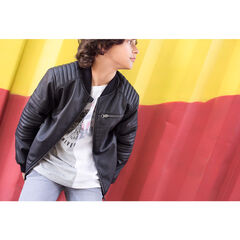 Junior - Imitation leather jacket with a sherpa lining