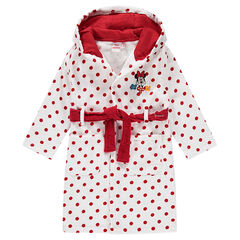 Disney Minnie Mouse terry cloth bathrobe with polka dots printed all over.