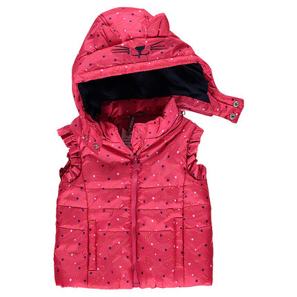 Sleeveless padded jacket with a removable hood and allover stars