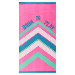 Terry cloth beach towel with contrasting bands
