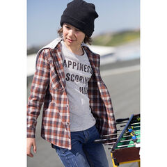 Junior - Long-sleeved checkered flannel shirt with a hood