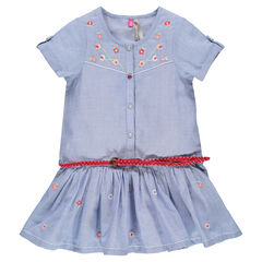Chambray shirt dress with embroidered flowers and belt