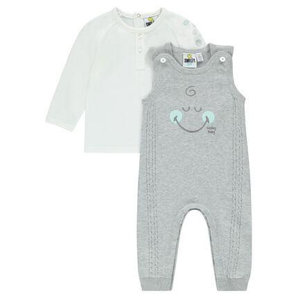 Ensemble with a long-sleeved tee-shirt and ©Smiley knit overalls