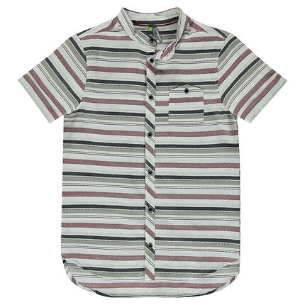 Junior - Short-sleeved shirt with interplay of stripes