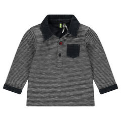 Long-sleeved polo shirt in an original knit fabric with patch pocket